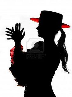 Silueta (no photoshop prestados producto) de un bailarín español de flamenco Foto de archivo