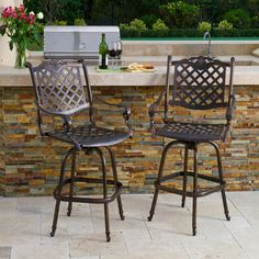 Shop Best Selling Home Decor Avon 2 Count Shiny Copper Aluminum Barstool  Chair At Lowes. Patio Bar ...