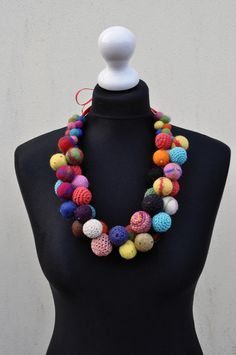 Felted necklace, fibre art, gift, beads, glass beads, satin ribbon