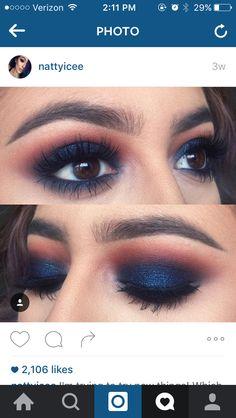 Eye Makeup Tips.Smokey Eye Makeup Tips - For a Catchy and Impressive Look Pretty Makeup, Love Makeup, Makeup Inspo, Makeup Inspiration, Beauty Makeup, Navy Eye Makeup, Makeup Ideas, Casual Eye Makeup, Blue Eyeshadow Makeup