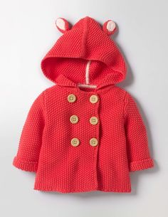 Is it a baby? Or is it a cuddly little creature? In this chunky knitted jacket with playful animal ears, it could be either. Perfect for those not-quite-coat-weather days, the merino blend knit is unbelievably soft on little ones' skin. And spills are easy to deal with – it's machine washable.