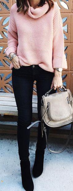 Pink Wool Knit / Black Skinny Jeans / Black Boots