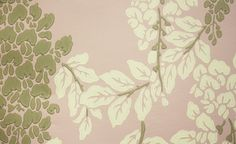 Wisteria Wallpaper A blossoming wisteria print wallpaper in cream and taupe on gentle pink.
