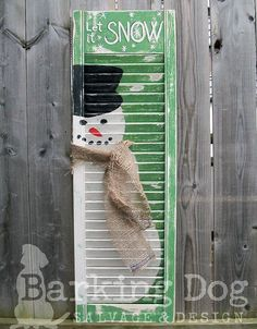 Festive Holiday Snowman Shutter with burlap scarf. Are you interested in my custom designed, hand-painted shutters? Please visit my facebook page and support artists and small, independent businesses ~ Thank you for your support! https://www.facebook.com/BarkingDogSalvageAndDesign