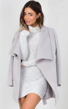 Grey Lapel Belted Trench Coat