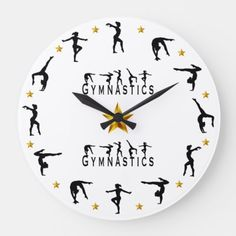 Shop Gymnastics - Female Large Clock created by Personalize it with photos & text or purchase as is! Big Clocks, Large Clock, Invitation Design, Invitation Cards, Photo Clock, Deco, Christmas Themes, All The Colors, Art For Kids