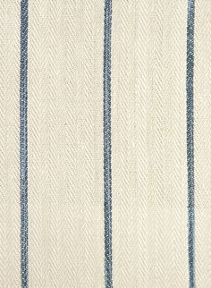 Camelford Striped Fabric Heavyweight oatmeal cotton herringbone with thin marine stripe.  Suitable for drapes, upholstery and soft furnishings.