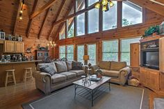 Smoky Mountain Cabin w/ View From Hot Tub & Deck! - Pigeon Forge Smoky Mountain Cabin w/ View From Hot Tub & Deck! Gas Forge, Hot Tub Deck, Bedroom With Bath, Smoky Mountains Cabins, Pigeon Forge Cabins, Tennessee Vacation, Wood Ceilings, Gas Fireplace, Alaska Travel