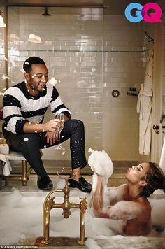 Making a splash! Chrissy Teigen poses TOPLESS in a sexy shoot with husband John Legend for GQ Magazine