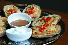 BBQ Chicken Potato Skins are make with pulled BBQ chicken, cheese and twice baked!