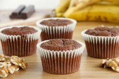 Brownie muffins de nueces y plátano - MisThermorecetas Thermomix Cupcakes, Thermomix Desserts, Monster Cookie Bars, Little Potatoes, Brownies, Homemade Muesli, Watermelon Recipes, Potato Dishes, Something Sweet