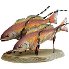 T. I. Design Handcrafted Wood and Metal Artwork - Mini Redfish Pair