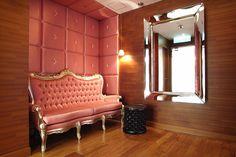 upholstered wall= philippe starck jia hotel hk