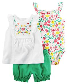 Baby Girl 3-Piece Bubble Short Set from Carters.com. Shop clothing & accessories from a trusted name in kids, toddlers, and baby clothes.