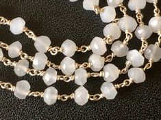 White Moonstone Faceted Rondelle Beads in 925 by gemsforjewels