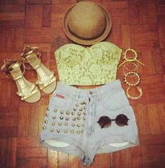 Bustier crop top, bowler hat, and short shorts