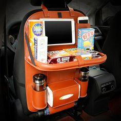 Leather Car Seat Back Folding Portable Storage Box.