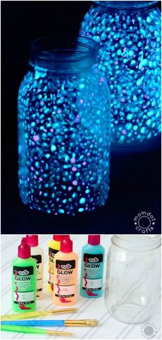 25 Amazingly Fun Glow In The Dark DIY Projects For Kids - Parents will enjoy these as well! :) Curated and created by diyncrafts.com team. Pot Mason Diy, Mason Jar Crafts, Mason Jars, Galaxy Jar, Diy Galaxy, Galaxy Crafts, Diy Projects For Kids, Diy For Kids, Crafts For Kids