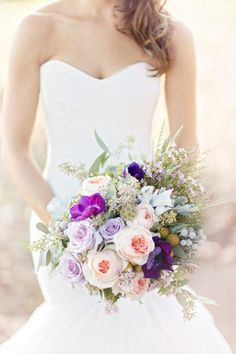 Pink + Purple Bouquet -- See the wedding here: http://www.StyleMePretty.com/southeast-weddings/2014/04/09/purple-southern-wedding-with-parisian-flare/ Photography: GlassJarPhotography.com