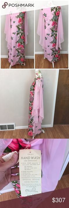 Pink Hawaiian hand-painted vintage maxi dress nwt Stunning floor length maxi dress with sheer flowey sleeves that are not fully attached to allow for better movement. The dress itself is handpainted. This is a shasheen original (Hawaiian designer ) from the 1960's and is not only in perfect condition but also has all original tags still attached. Perfect for the beach, cruise or daily wear everyone will want to know just where you found this gorgeous gem. Original retail price of $75 (in…