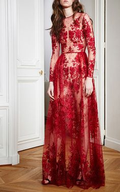Floral Embroidered Tulle Gown by ZUHAIR MURAD for Preorder on Moda Operandi
