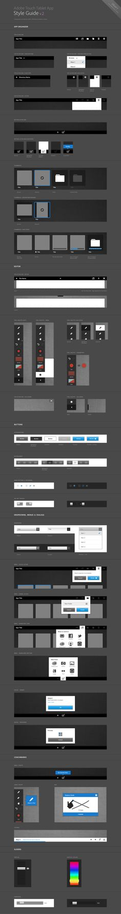 "Adobe Touch Tablet Style Guide *** ""Component sheet exploring of Adobe's Touch Tablet UI language"" by Gabriel Campbell, via Behance *** Ux Design, Flat Design, Tool Design, Layout Design, Gui Interface, User Interface Design, Web Style Guide, Style Guides, Wireframe"