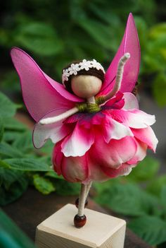 Pink Fairy Miniature, Pink Mulan Magnolia Petal Doll, No face doll, Flower Princess Doll , Angel Ornament by OrientalColour, $14.50