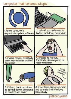 Funny Geek Jokes: Computer maintenance steps comic strip