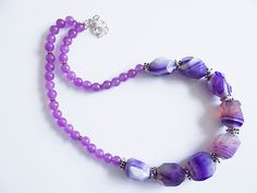 Purple Agate Malai Jade Sterling Silver Necklace & Earrings Set