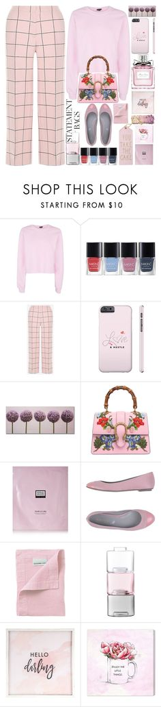 """""""Carry On:Statement Bags"""" by grozdana-v ❤ liked on Polyvore featuring Topshop, Valentino, Gucci, Erno Laszlo, Sergio Rossi, Lario, LSA International, Hello Darling, Oliver Gal Artist Co. and statementbags"""
