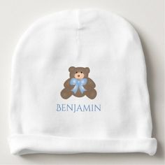 #cute #baby #beanies #babybeanies - #Cute Pastel Blue Ribbon Sweet Teddy Bear Baby Boy Baby Beanie