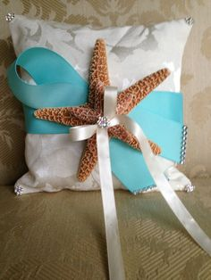 ring bearer pillow for beach wedding with by TheCrystalFlower, $45.00