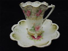 Vintage R.S Prussia Cup And Saucer, Pink Roses, White Porcelain W/ Gold Trim