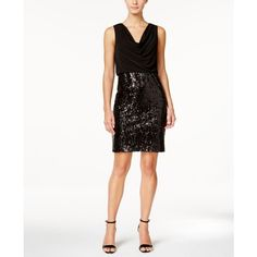 Calvin Klein Cowl-Neck Sequined Sheath Dress ($179) ❤ liked on Polyvore featuring dresses, black, cowl neck dress, cowl neck cocktail dress, cowlneck dress, sheath dress and calvin klein