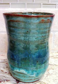 Pottery utensil holder jar in beautiful shades of by AnasClayHouse, $20.00