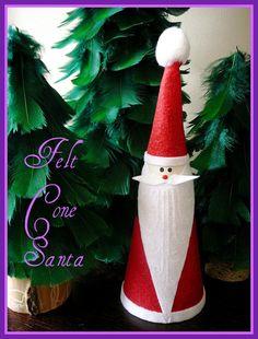 Rhinestone Beagle: Felt Cone Santa