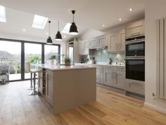 Milbourne Stone - The Kitchen People kitchen cupboards with lines Open Plan Kitchen Dining Living, Open Plan Kitchen Diner, Kitchen Diner Extension, Kitchen Floor Plans, Kitchen Flooring, Real Kitchen, Stone Kitchen, Kitchen Family Rooms, Living Room Kitchen
