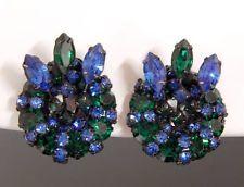 WARNER BLUE & GREEN RHINESTONE SPIKY CLUSTER EARRINGS VINTAGE  #064S