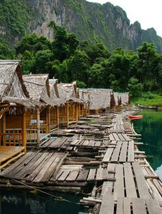 Interesting hotel idea >>>Raft Bungalows in Thailand.  The floating bungalows on Lake Chiew Lan are located in Khao Sok National Park in Surat Thani province. Looks like a fun place to stay!