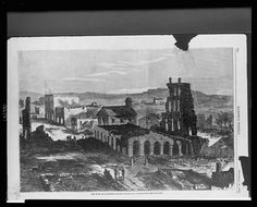 The ruins of Lawrence, Kansas, following attack by William Quantrill and his Confederate raiders.  1863