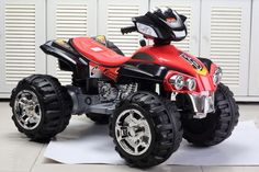 Kids Ride On Toy Big Black And Red ATV Quad 4 Wheeler Off Road Style Electric 12v Red #bestrideoncars