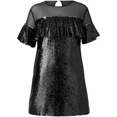 Simply Be Black Ruffle Sequin Dress ($30) ❤ liked on Polyvore featuring dresses, ruffle trim dress, flouncy dress, sequin embellished dress, frilly dresses and frilled dress