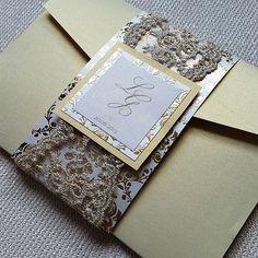Wedding Invitation Pocket gold damask lace 3 by ImpressedCompany