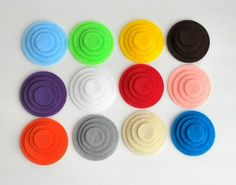 Bright Party 48 Die Cut Felt Circles in 12 colors  A921
