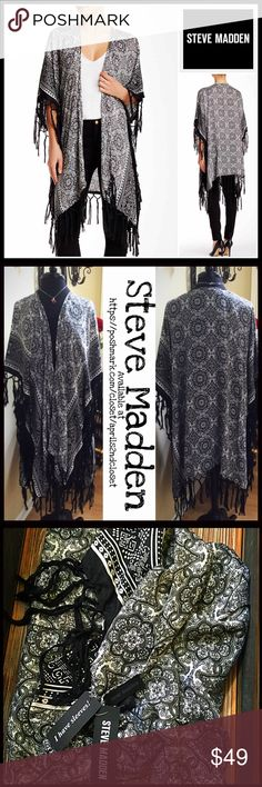 "STEVE MADDEN KIMONO CARDIGAN 💟NEW WITH TAGS💟 RETAIL PRICE: $70  STEVE MADDEN KIMONO CARDIGAN Boho Fringe Wrap Cardi  * Wide elbow length kimono sleeves  * Open front  * Oversized style & swing cape silhouette  * Allover paisley boho print   * Fringe trim  * Approx 44""L; ****Tagged OS-One size fits most   Material: 100% polyester (lightweight) Color: Black, white Item# SEARCH# embellished 🚫No Trades🚫 ✅ Offers Considered*✅ *Please use the blue 'offer' button to submit an offer Steve Madden…"