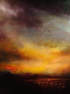 """Maurice Sapiro; Oil, 2011, """"Lake At Sunset"""""""