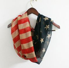 Vintage American Flag Infinity Scarf Soft and Large by LitoPinkOwl, $18.00