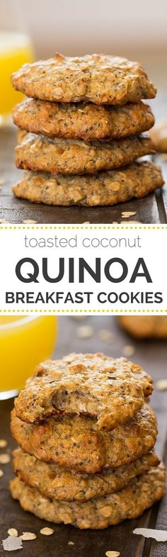 Coconut Quinoa Breakfast Cookies - these flourless cookies are packed with fiber, naturally sweetened and are gluten-free!Toasted Coconut Quinoa Breakfast Cookies - these flourless cookies are packed with fiber, naturally sweetened and are gluten-free! Breakfast And Brunch, Breakfast Cookies, Breakfast Recipes, Breakfast Healthy, Breakfast Ideas, Mexican Breakfast, Alkaline Breakfast, Quinoa Breakfast Bars, Quinoa Bars
