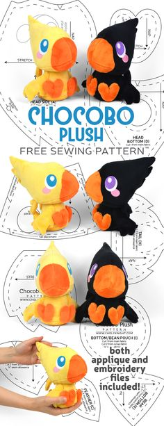 Free sewing tutorial: Make a fun Chocobo plush, right out of Final Fantasy! Wark!