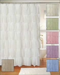 This snow white shower curtain is a poofy, thick white lace shower curtain for those of us that love a shabby and chic atmosphere! The lace is a mesh tulle lace, but very, very soft. The lace is polye